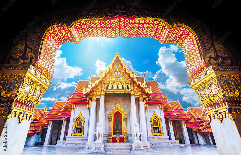 Fototapety, obrazy: Amazing Thailand Tourist Religion attractionsWat Benchamabophit or Marble temple in Bangkok, Thailand