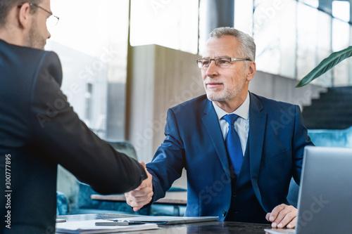 Pinturas sobre lienzo  Handshaking between business partners after making a deal indoors
