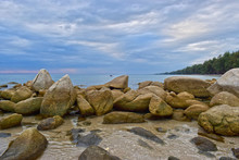 Aerial View Of Ocean Waves And Beautiful Rocky Coast At Rayong Sea, Thailand