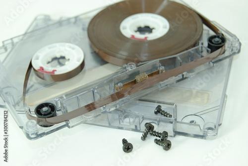 Cassete de musica aberta para reparação Canvas Print