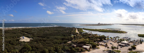 Photo Aerial view of the coastline of New Smyrna Beach and Ponce de Leon Inlet