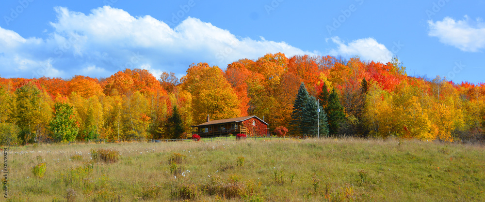 Fototapety, obrazy: Fall landscape eastern townships Bromont Quebec province Canada