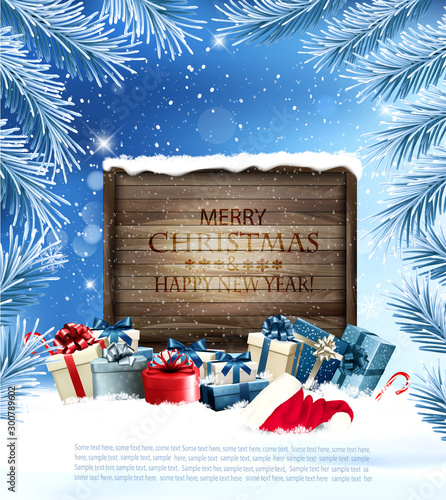 Obraz Holiday Christmas background with a gift boxes and wooden desk. Vector. - fototapety do salonu
