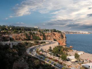 Fototapeta na wymiar road along the Mediterranean coast in the city of Antalya Turkey
