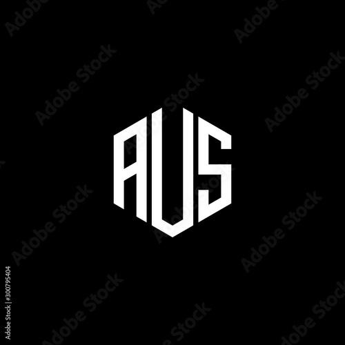 AUS Letter Logo Design polygon Monogram Icon Vector Template Wall mural