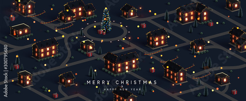 Montage in der Fensternische Schwarz Christmas night city. Winter Xmas village landscape, cottage town and country, Decorated with New Year garland, blur lights bokeh. Festive banner, web poster, greeting card, cover. Vector illustration