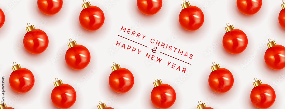 Fototapety, obrazy: Merry Christmas and Happy New Year. Pattern Xmas red balls. Christmas bauble background.