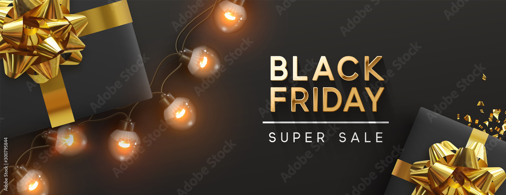 Fototapeta Black Friday sale banner. Background design of sparkling lights garland, realistic gifts box, glitter gold confetti. Horizontal christmas poster, greeting cards, headers website