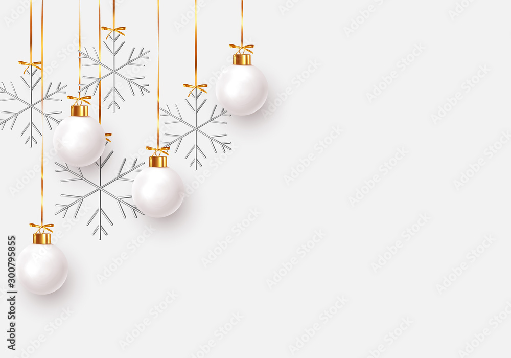 Fototapety, obrazy: Christmas balls background. Hanging white Xmas decorative bauble, 3d silver metallic snowflakes on the ribbon. Festive vector realistic decor ornaments