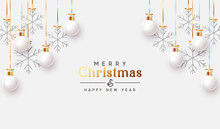 Christmas Balls Background. Hanging White Xmas Decorative Bauble, 3d Silver Metallic Snowflakes On The Ribbon. Festive Vector Realistic Decor Ornaments