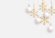 Christmas Balls Background. Hanging White Xmas Decorative Bauble, 3d Golden Metallic Snowflakes On The Ribbon. Festive Vector Realistic Decor Ornaments