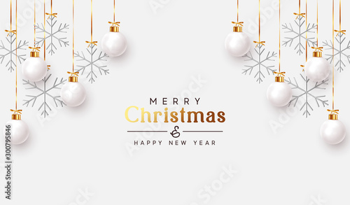 In de dag Bol Christmas balls background. Hanging white Xmas decorative bauble, 3d silver metallic snowflakes on the ribbon. Festive vector realistic decor ornaments