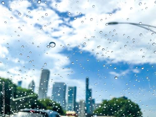 City skyline after summer rain