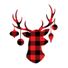 Reindeer With Christmas Ornaments Hanging From The Antlers. Christmas Buffalo Plaid Reindeer Vector Illustration.