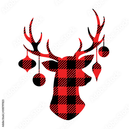 Reindeer with Christmas ornaments hanging from the antlers. Christmas buffalo plaid reindeer vector illustration. #300797823