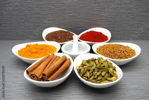 Healthy Spices Flax Seed, Chili Powder,  Fenugreek, Turmeric, Cardamom, and Cinnamon in a circle