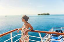 Cruise Ship Travel Vacation Woman Looking At Ocean From Deck Of Sailing Boat. Luxury Tahiti Bora Bora French Polynesia Destination Summer Lifestyle.