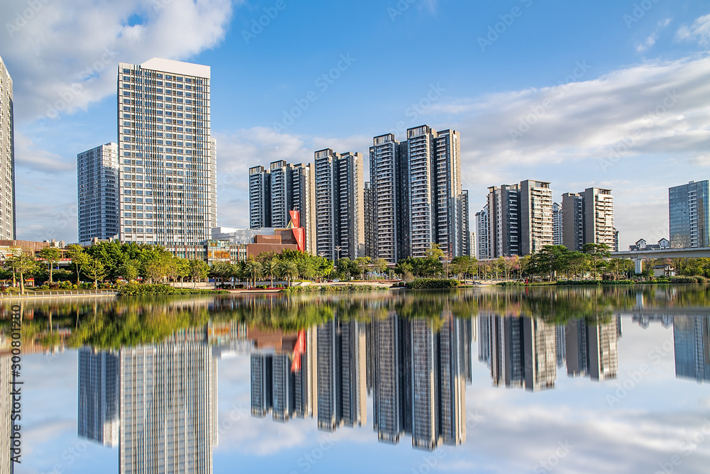 Fototapety, obrazy: Skyline of the commercial center of Jiaomen River in Nansha District, Guangzhou, China