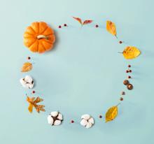 Autumn Theme With Orange Pumpk...