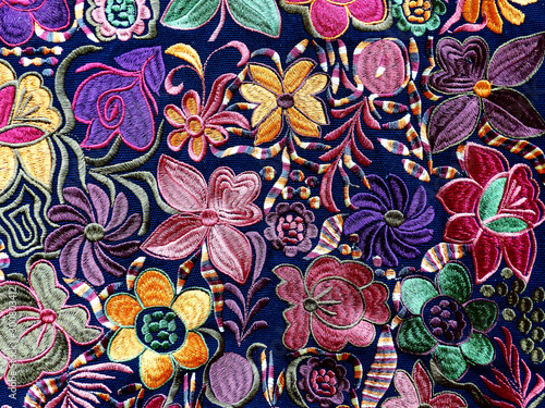 Close up of сolorful embroidered decorative textile and  pillows at the artisan' Fototapeta