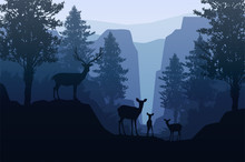 Natural Forest Mountains Horizon Trees Landscape Wallpaper Sunrise And Sunset Herd Of Deer Illustration Vector Style Colorful View Background