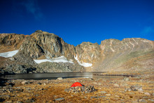 Lake Dorothy At Arapahoe Pass Colorado With A Tent In The Foreground