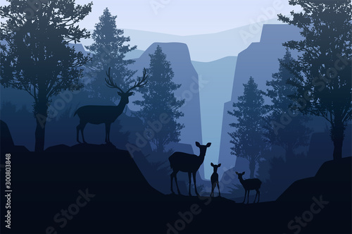 Naklejki Jeleń   natural-forest-mountains-horizon-trees-landscape-wallpaper-sunrise-and-sunset-herd-of-deer-illustration-vector-style-colorful-view-background