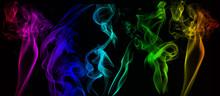 Abstract Colorful Smoke On Bla...