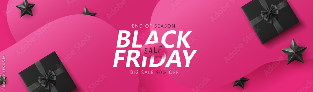 Fototapety, obrazy: Black friday sale banner layout design template graphic abstract pink background. Vector illustration