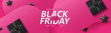 Black Friday Sale Banner Layout Design Template Graphic Abstract Pink Background. Vector Illustration