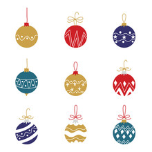 Christmas And Happy New Year Icon Set. Merry Christmas Design Element For Calendar, Cards, Pattern, And Background - Vector