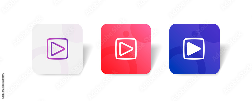 Fototapeta Video player round icon in outline and solid style with colorful gradient background, suitable for UI, app button,  infographic, etc