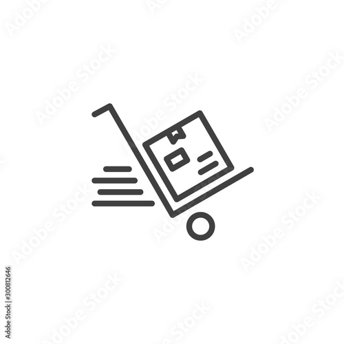 Fotomural Express delivery, handcart line icon