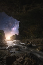 The Milky Way Towering Above The Moonlight Waterfall