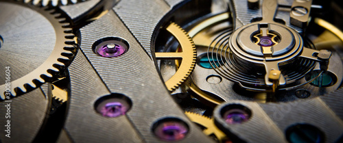 Canvas Prints Macro photography mechanism of old clock