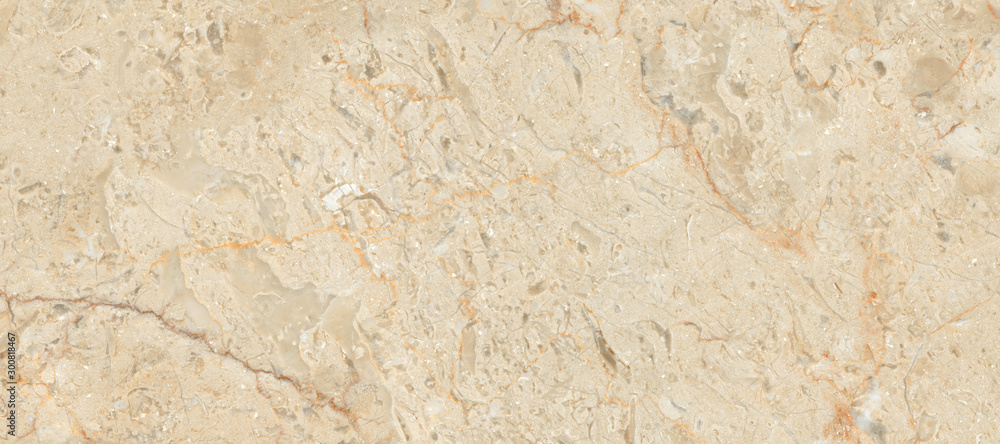 Fototapeta Beige marble texture background, Breccia marble tiles for ceramic wall tiles and floor tiles, marble stone texture for digital wall tiles, Rustic rough marble texture, Matt granite ceramic tile.