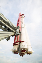 """The Spacecraft Rocket """"USSR East"""" Is Facing Takeoff."""