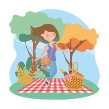 Happy Woman Basket Blanket Pic...