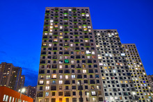 Several Residential High-rise Buildings At Night