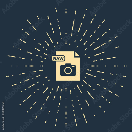 Foto auf Leinwand Blaue Nacht Beige RAW file document. Download raw button icon isolated on dark blue background. RAW file symbol. Abstract circle random dots. Vector Illustration