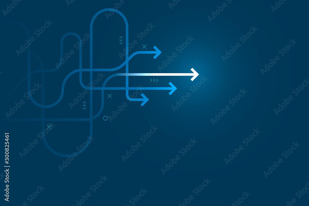 Fotografia Abstract arrow direction illustration, copy space composition, business leader path concept