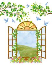 フレーム:窓 洋窓 洋風 青空 青い鳥 鳥 水彩 かわいい 木 木々 自然