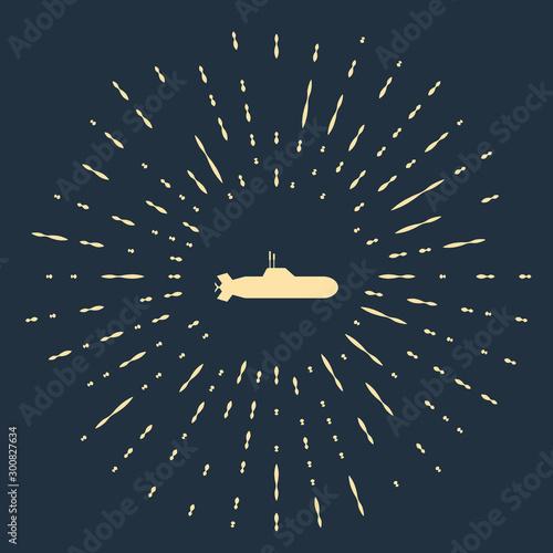 Beige Submarine icon isolated on dark blue background Canvas Print
