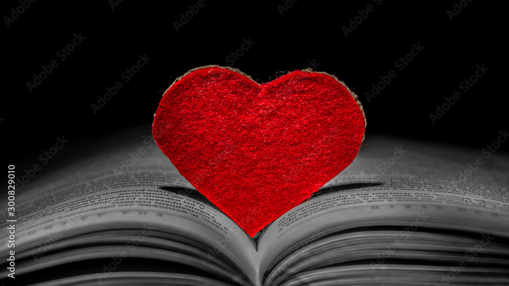 Fototapeta Valentines day background. Red heart among the pages of an open book