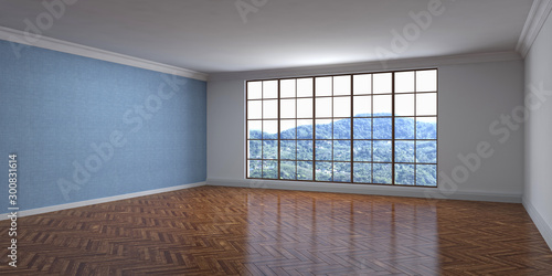 Aluminium Prints Old abandoned buildings Empty interior with window. 3d illustration