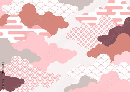 Obraz 和柄を用いた雲の背景イラスト エ霞 青海波 鹿の子絞り - fototapety do salonu