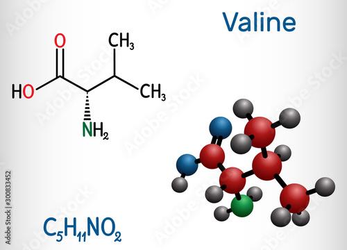 Photo Valine, Val molecule, is α-amino acid