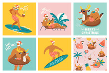 Christmas Seamless Set Of Card And Pattern With Cute Funny Santa Claus Animals With Reindeer And Flamingo Inflatable Ring. Tropical Christmas. Vector Illustration.