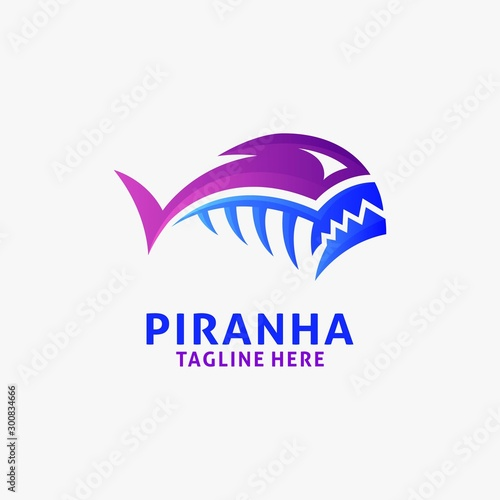 Fototapeta Piranha fish logo design inspiration