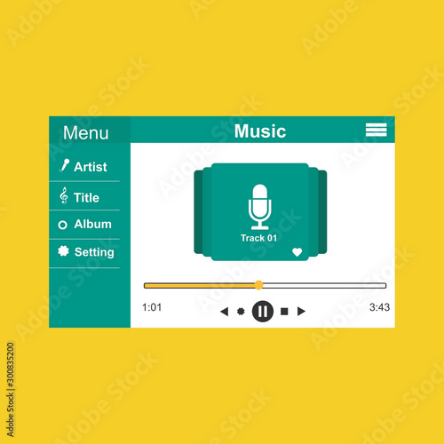 Music player app interface vector color template. Media player navigation screen. Flat UI, GUI. Playing audio, radio Wall mural